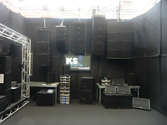 The KS Audio live PA sound wall at Musikmesse 2015